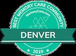 MemoryCare.com badge for Best Memory Care Community Denver, CO 2019