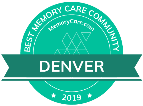 MemoryCare.com badge for Best Memory Care Community Denver, CO 2019