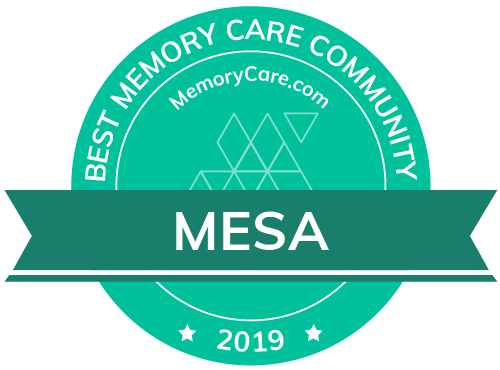 MemoryCare.com award for one of the Best Memory Care Communities, Broadway Mesa Village, Mesa, AZ