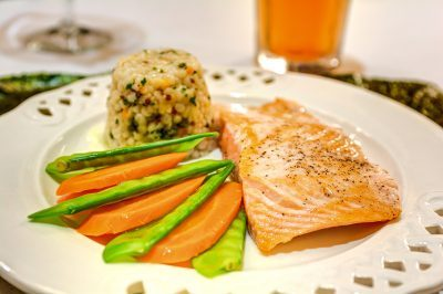Creston Village | Salmon, rice, and vegetables