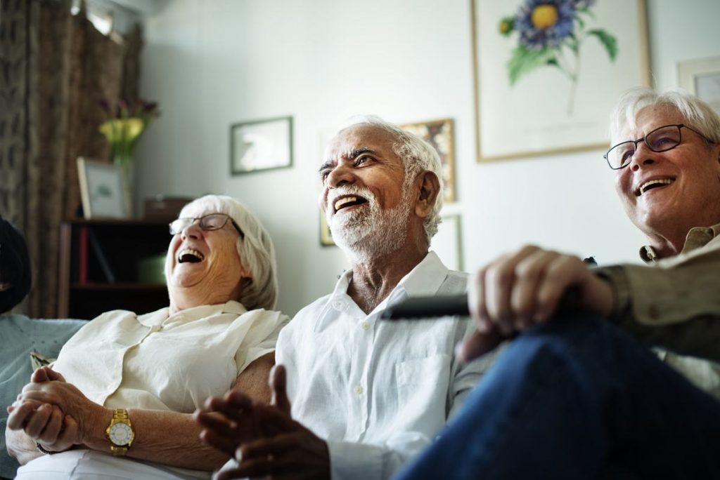Elk Grove Park | Seniors laughing at television