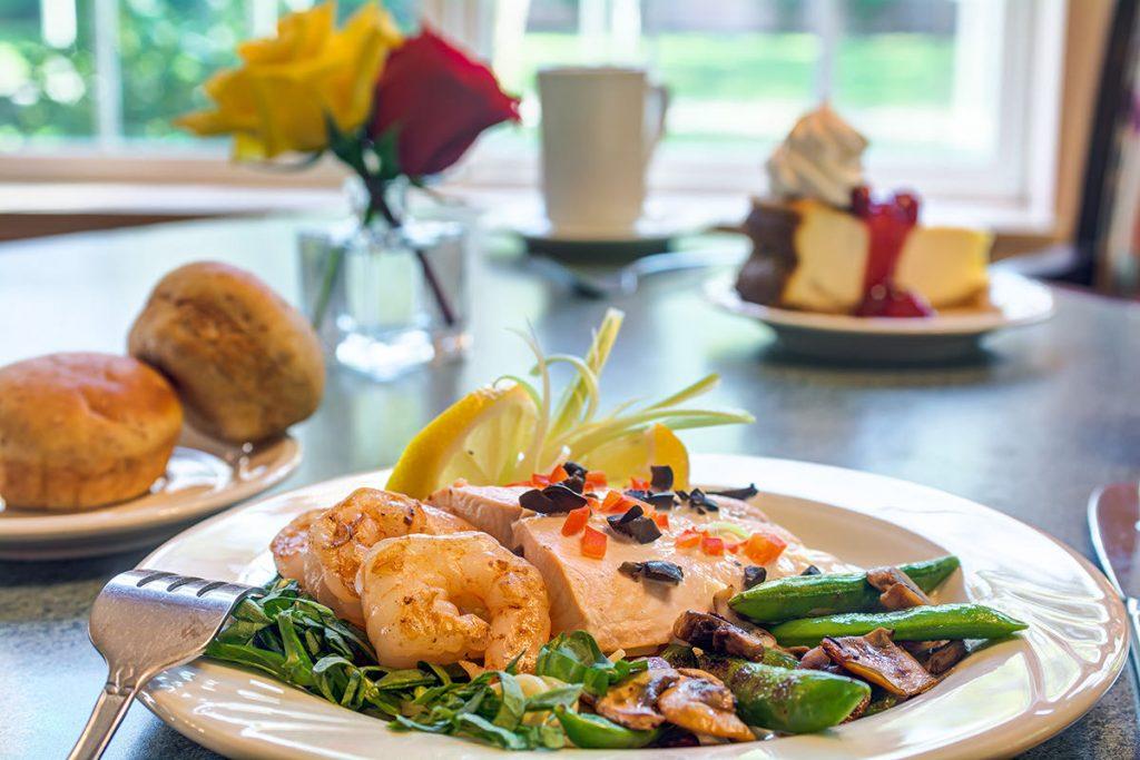 Gig Harbor Court | Salmon, shrimp, and vegetables