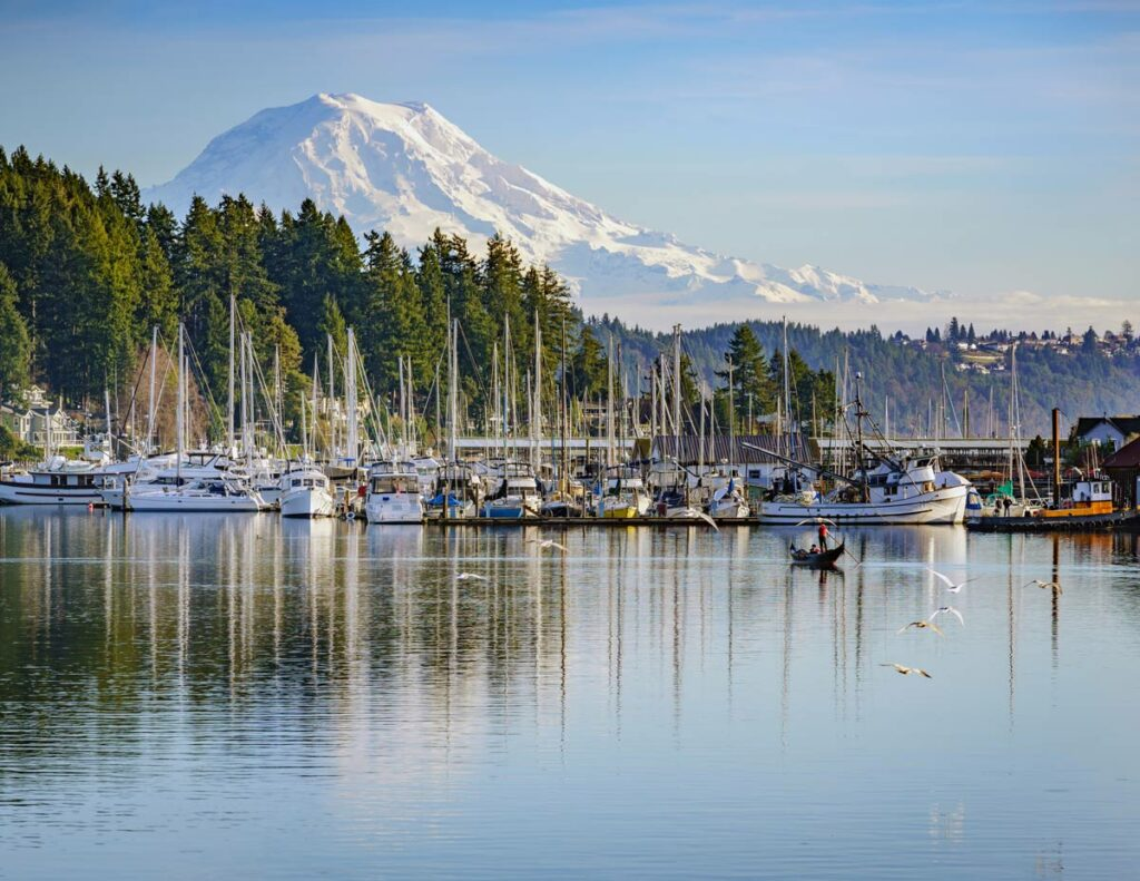Gig Harbor Court   Boats in front of Mount Rainier