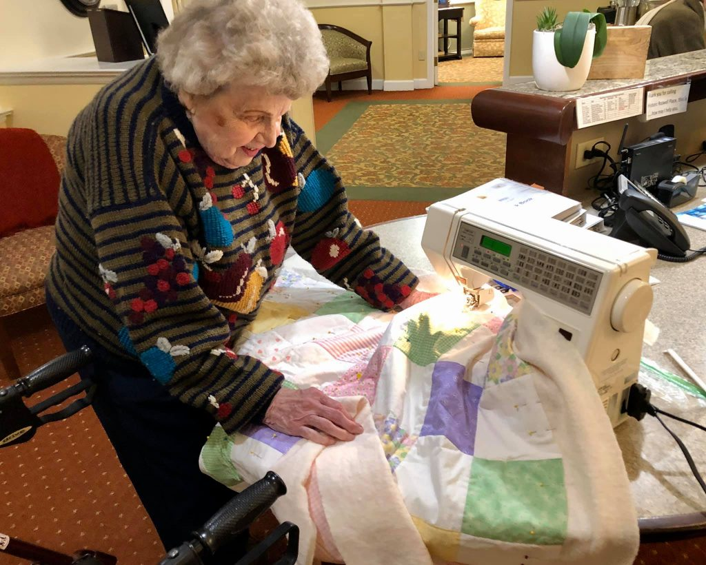 Historic Roswell Place Resident Janet Quilting