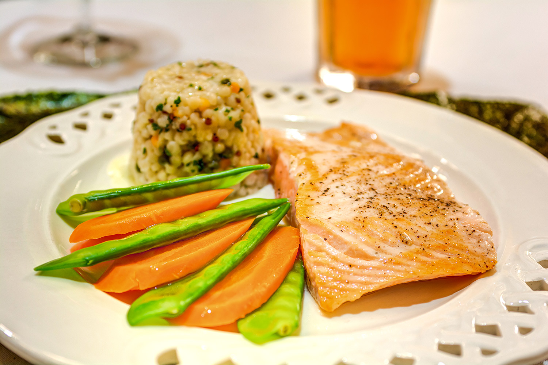Laketown Village | Salmon, rice, and vegetables