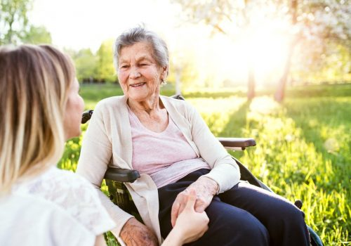 Laketown Village | Senior with caregiver