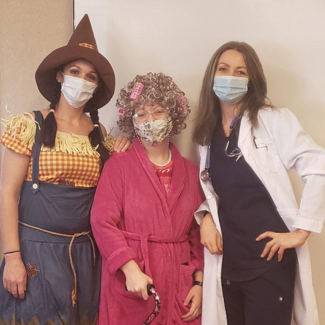 Pegasus Senior Living   Jasmina and her coworkers in costumes