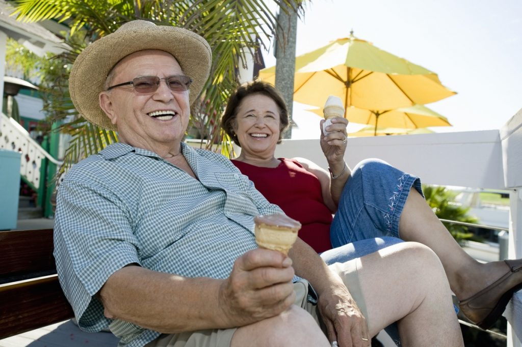 Sterling Court at Roseville | Senior couple laughing outdoors