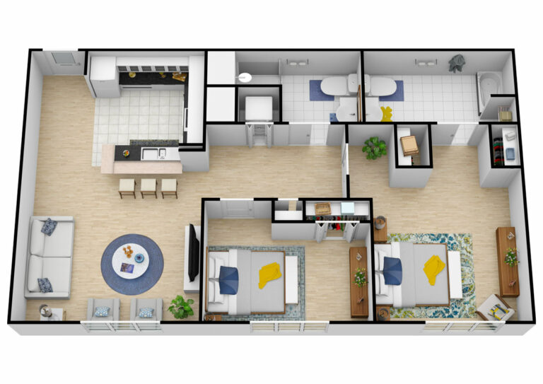 The Courtyards at Mountain View | Two Bedroom/One Bedroom with Den Two Bathroom Independent Living