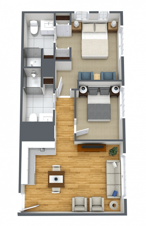 The Courtyards at Mountain View | One Bedroom With Den F