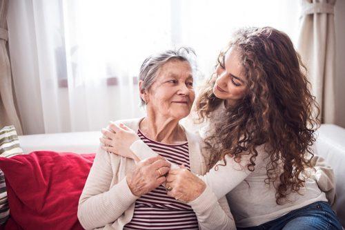 Town Village of Leawood | Granddaughter comforting grandmother