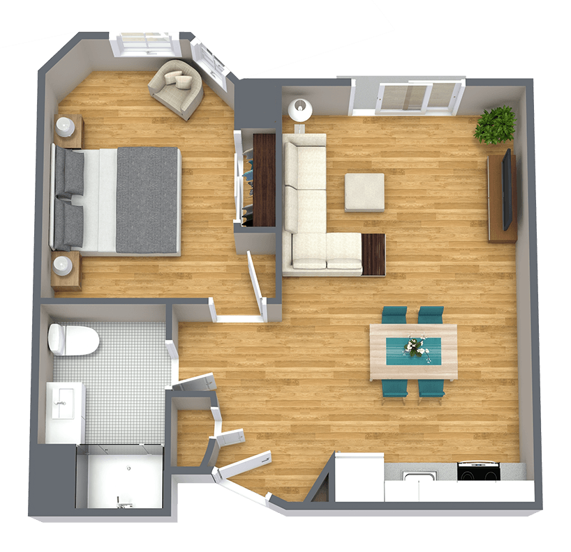 Whispering Winds of Apple Valley   One bedroom apartment floorplan