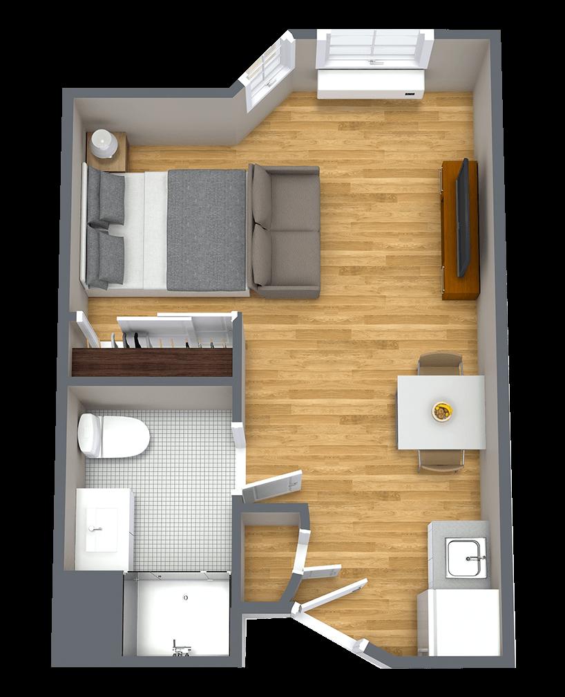 Whispering Winds of Apple Valley   Studio apartment floorplan
