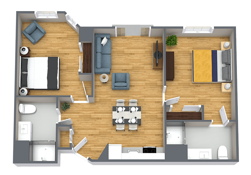 Whispering Winds of Apple Valley   Two Bedroom apartment floorplan
