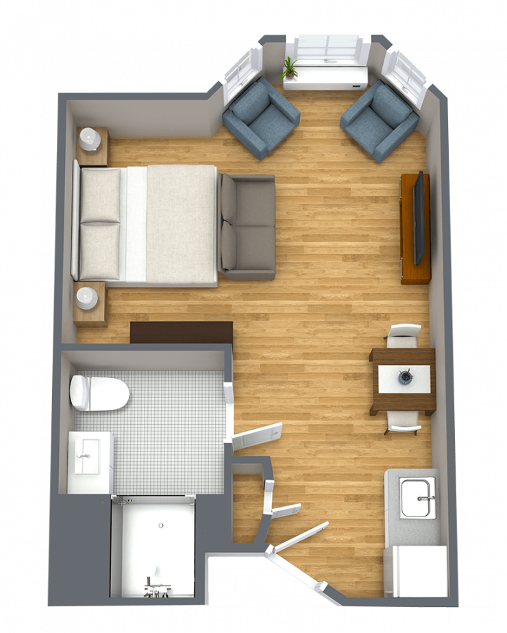 Whispering Winds of Apple Valley | Studio apartment floorplan