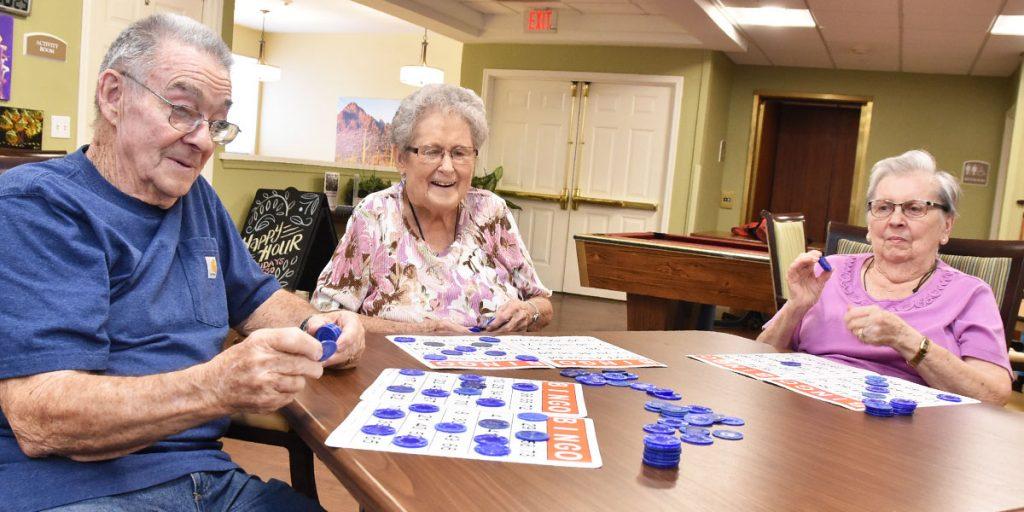 Pegasus Senior Living | Residents playing Bingo