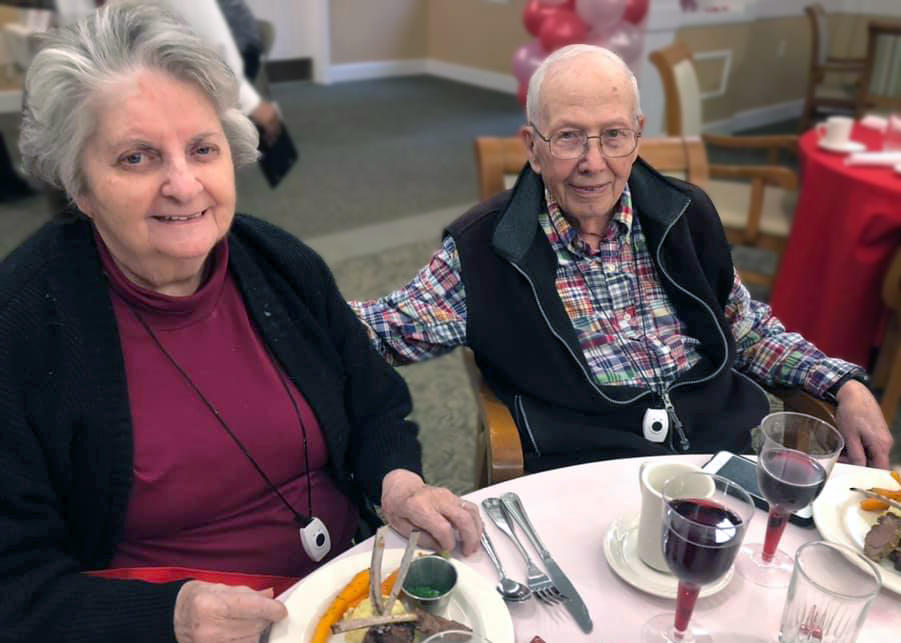 Senior couple enjoying dinner at Magnolia Place of Roswell, Roswell, GA