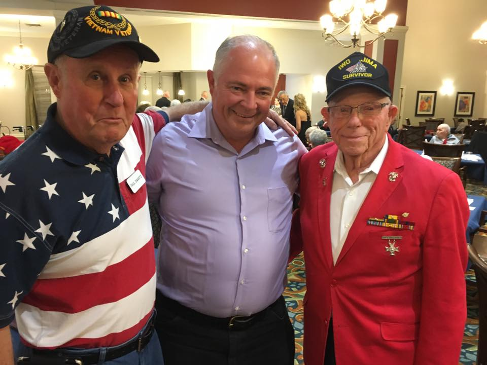 Pegasus Senior Living | Corporal Don Graves USMC with friends at the 2019 Veterans' Ball at Ridgmar Place, Fort Worth, TX.