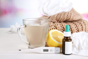 Pegasus Senior Living | Hot tea for colds, pills and handkerchiefs