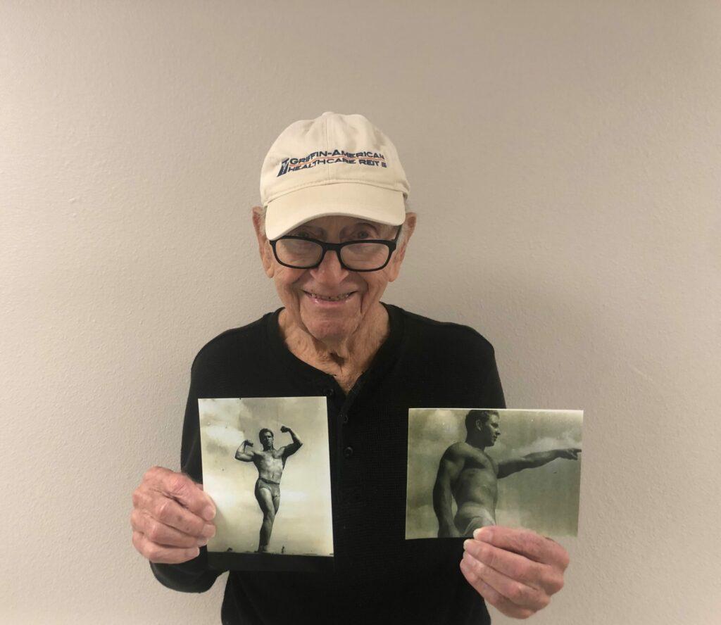 Pegasus Senior Living | Resident with his old bodybuilding photos
