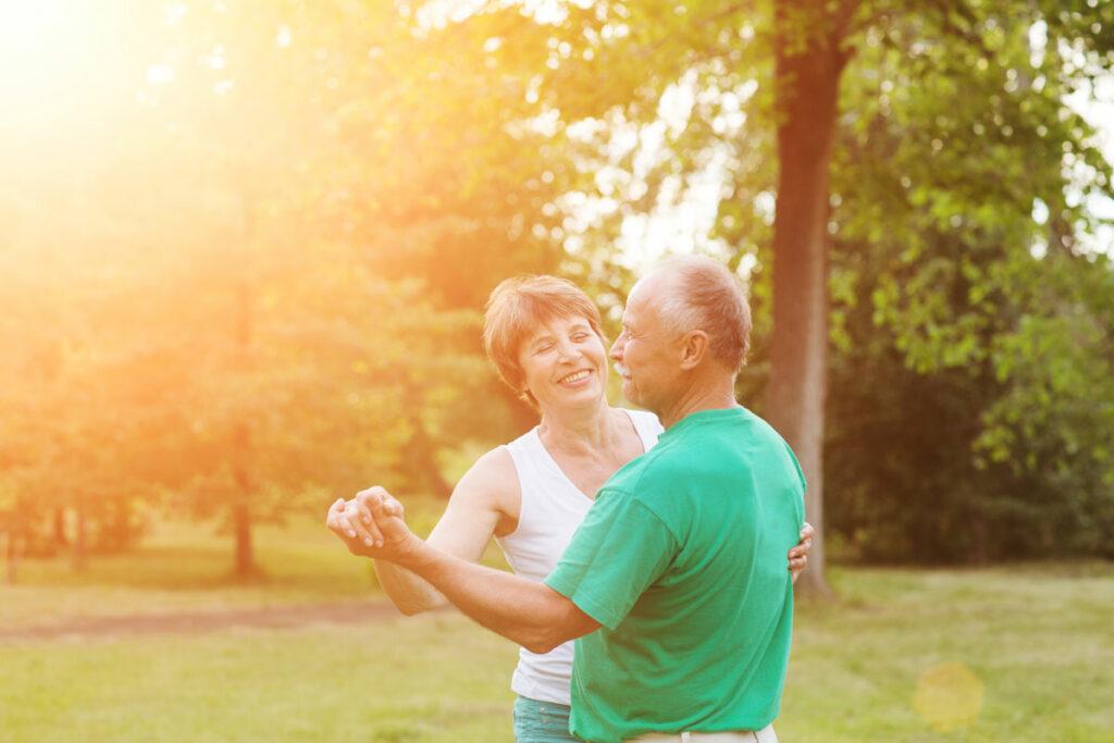 Pegasus Senior Living | Seniors dancing during sunset